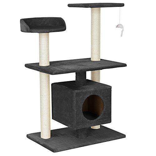 encasa-Katzen-Kratzbaum-ca-60-x-40-x-95-cmgrau-Kuschelhhlen-Aussichtsplatformen-Sisal-mit-vielen-Spiel-und-Kuschelmglichkeiten