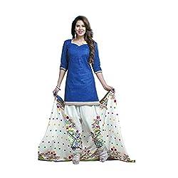 Muac New Blue & White Pure JodhPuri Printed Cotton Semi Stitched Suit ( Dress ) + Navratri Gift