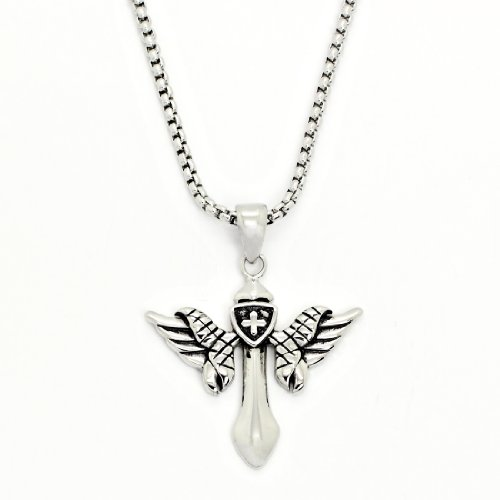 2 PIECE SET: Vintage 19-Inch Stainless Steel Rolo Chain Necklace With Winged Cross Pendant (LIFETIME WARRANTY)