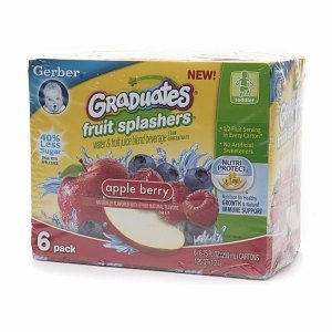Gerber Graduates Fruit Splashers, Apple Berry, 6 ea