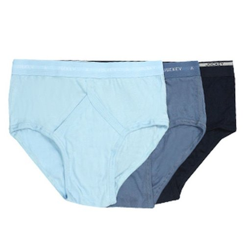 Jockey® Mens Classic 3-Pack Cotton Rib Y-Front® Brief Underwear with Fly, colours Navy, Indigo, and Azure, size 36
