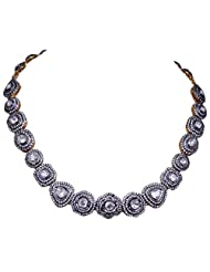 Gehna White Sapphire Rose Cut Polki Gemstone Studded Necklace In .925 Solid Silver
