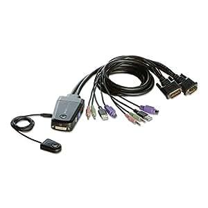 iBUFFALO パソコン自動切替器 DVI接続 リモートスイッチ付 ブラック BSKMD201BK