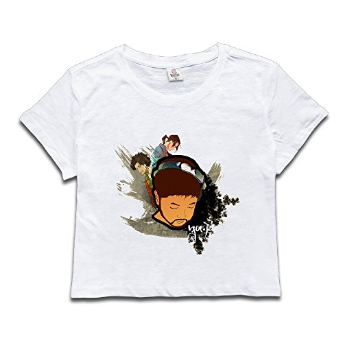 Custom Woman DJ Selfdom Head Portrait Poster Midriff Tshirts Size M White