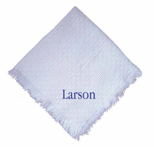Custom Embroidered Monogrammed Boy White Cotton Woven Personalized Baby Blanket Navy Thread front-975408