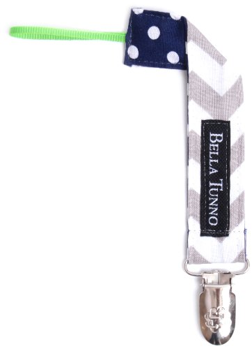 Bella Tunno Fabric Loop  Pacifier Clip, Zigzag Grey/Navy Dot