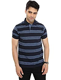 Men's Polo Neck Half Sleeve Striped Cotton T-shirt By Bongio_ RMS5A2008A