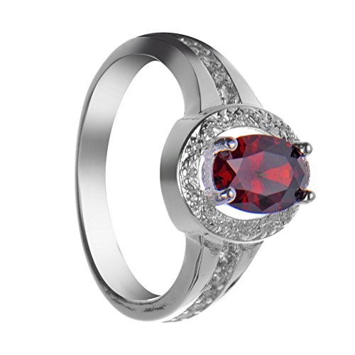 Ladies Blood Red Ring With Brilliant Round Crystal