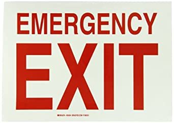 "Brady Red On Green Color, Glow-in-the-Dark Exit and Directional Sign, Legend ""Emergency Exit"""
