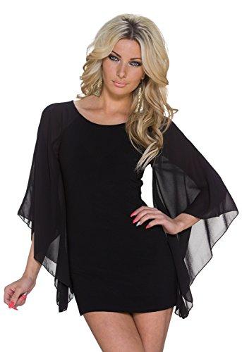 K1049 Fashion4Young Damen Minikleid Kleid PartyKleid Abendkleid Elegant Chiffon-Flügelärmel 3 Farben