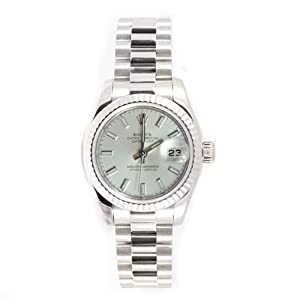 Rolex Ladys President New Style Heavy Band 18k White Gold Model 179179 Fluted Bezel Silver Stick Dial
