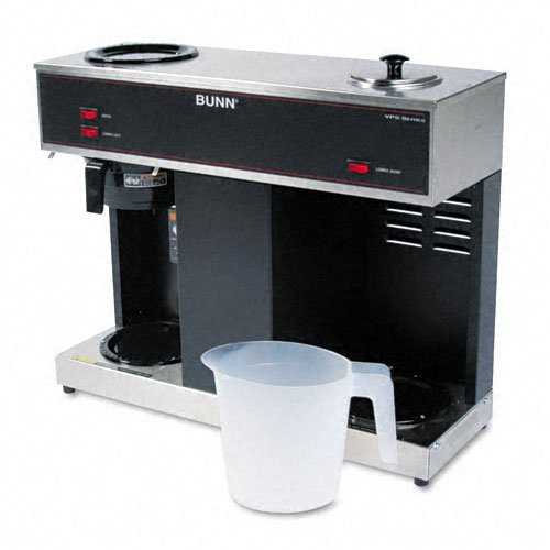 BUNN : Pour-O-Matic Three-Burner Pour-Over Coffee Brewer, Stainless Steel, Black -:- Sold as 2 Packs of - 1 - / - Total of 2 Each