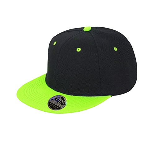 Result Unisex Core Bronx Original Flat Peak Snapback Dual Colour Cap (One Size) (Black/Lime Green)