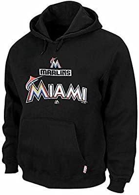 Miami Marlins MLB Majestic Therma Base Hoodie Men's Black Big & Tall Sizes