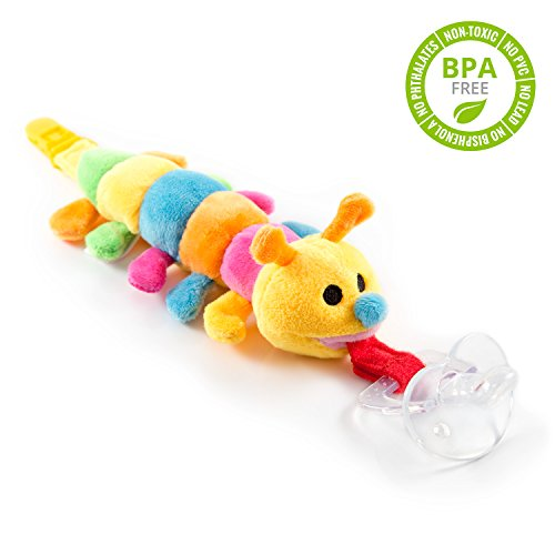 BabyHuggle Caterpillar Pacifier - 4 in 1 Animal Stuffed Binky, Soft Plush Toy with Detachable Silicone Baby Paci, Dummy Clip Leash & Squeaky Sound. Teether Holder. Safe & Soothing. Baby Shower Gift (Butterfly Car Seat Strap Covers compare prices)