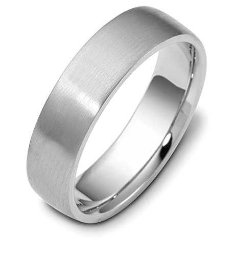 Mens Sterling Silver, Domed Contemporary Brushed 6Mm Wedding Band (Sz 14)