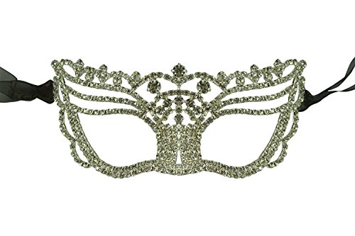 [Luxury Mask Women's Collection Clear Crystals Rhinestone Masquerade Mask, Luxury Mask 008 Clear Stones, One] (Rhinestone Masquerade Mask)