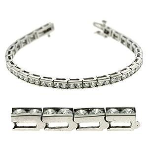 14k White Gold 5.77 Dwt Diamond Channel Set Tennis Bracelet - JewelryWeb