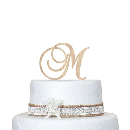 Generic Custom Monogram Wedding Cake Topper - 5 Inch Monogram Letter Cake Topper - Personalized With A B C D E F G H I J K L M N O P Q R S T U V W X Y Z front-198629