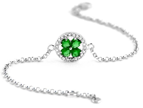 925 Silver Shamrock Four Leaf Clover Good Luck Bracelet with CZ Stones