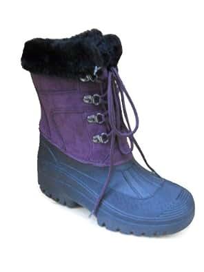 New Ladies Womens Riding Yard Rain Snow Stable Winter Ski Wellies Womens Wellington Mucker Boots Purple Size UK 4