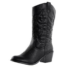 West Blvd Miami Cowboy Western Boots,11 B(M) US,Black Pu