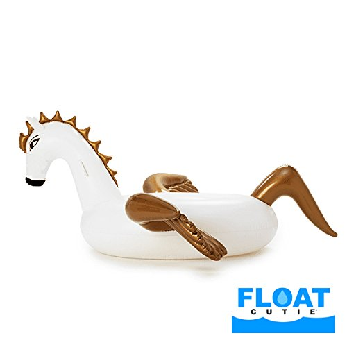 FLOAT CUTIE - Deluxe Giant Inflatable Pegasus Pool Float. Pool Floatie Lounger Toy for Adults and Kids