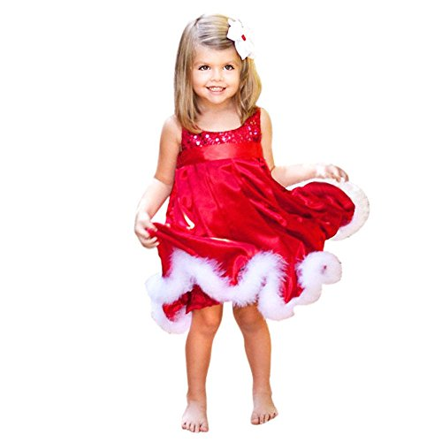 Sikye baby Girls Christmas Party Red Paillette Tutu Dresses (5-6year130cm) (Footed Thermal Underwear compare prices)