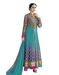 EmporioDeals Women's Georgette Salwar Suit Dress Material(ED 109_Blue)