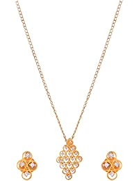 Gold Brass Pendant Set For Women (SiM1998)