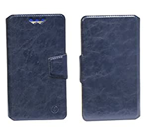 J Cover Bonded Series Leather Pouch Flip Case With Silicon Holder For Alcatel OT-6030D Dark Blue