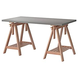 Ikea linnmon gray desk table 59x30 with 2 birch brown for Table d angle ikea