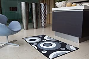Lapina Black - Black and White Retro Non Shed Affordable Anti Slip Hallway Runner Rug Luna - 8 sizes available from The Rug House