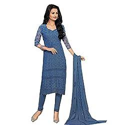 Shivam retail Beautiful Navy Blue Semi Stitched Dress