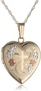 14k Yellow Gold Engraved Cross Heart Locket Necklace, 18""