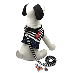 Alfie Pet by Petoga Couture - Lisa Sailor Dress Harness and Leash with Photo Collar Charm Set - Size: Extra Large
