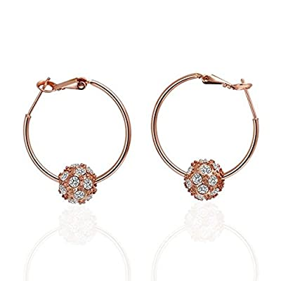 Fashion Jewelry 18k Rose Gold, Ball Circle White Diamond Hoops Drop Hooks Studs Earrings Unique Vintage Fashion Fine Jewelry for Women, Girl, Men, Unisex Gem0033