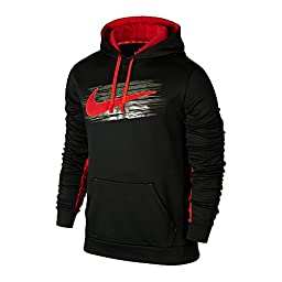 Men\'s Nike KO Swoosh Applique Pullover Training Hoodie Black/Gym Red Size Large