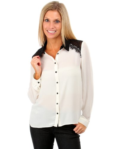 G2 Fashion Square Lace Back Accent Button Down Collar Shirt