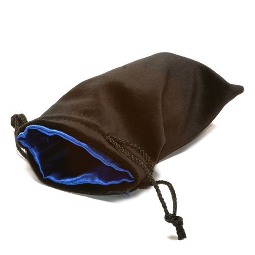 "5""X8"" Black Velvet Dice Bag with Blue Satin Lining by Koplow Games"