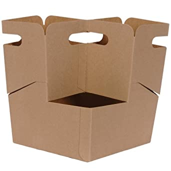 """Dixie 4DCKDR 4-Drink Carrier Take-out Tray, 7"""" Height x 8.5"""" Width x 7"""" Depth, Kraft (Case of 200)"""