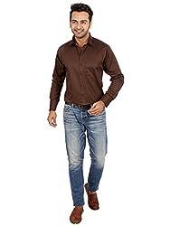 Regza Men's Formal Shirt (RZA_Brown_38)