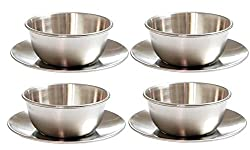 Stainless Steel Matte Finish Soup Bowl Set with Saucer(4 Sets)