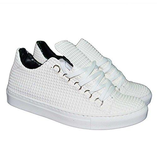 Sneakers bassa uomo man scarpe calzature modello balen bianco piramide uomo man stati uniti (43)