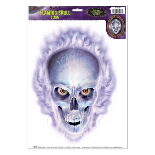 Flaming Skull Cling Party Accessory (1 count) (1/Sh)