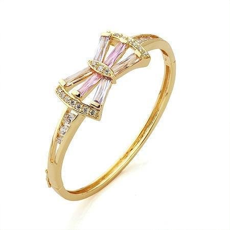 Simply Glamorous Jewellery And Gifts Shop - 9ct Gold Filled Butterfly Bangle Pink Cubic Zirconia