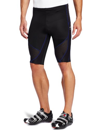 CW-X CW-X Men's Stabilyx Ventilator Shorts (Black/ Blue Stitch, Medium)