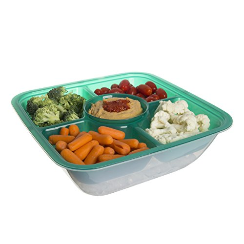 4 Section Food & Veggie Cooler Storage Server Party Container With Lid Dip Bowl Appetizer Tray (Section Bowl With Lid compare prices)