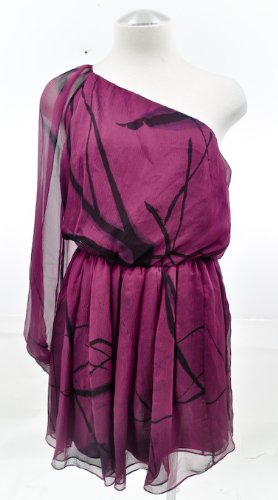 Alice and Olivia Blackberry Purple One Shoulder Dress