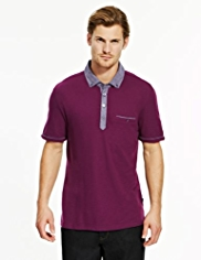 Autograph Soft Touch Chambray Polo Shirt with Modal